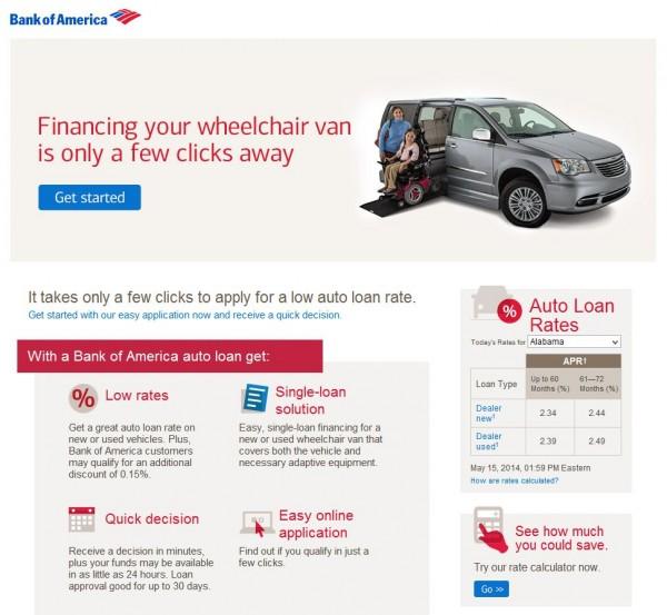 Bank of America Financing Wheelchair Van