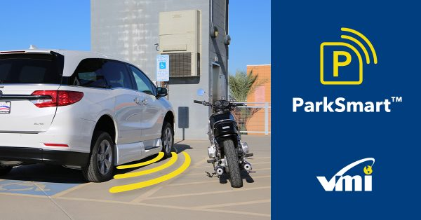 VMI ParkSmart: Image of van next to an illegally parked motorcycle. VMI van is emitting a sound wave towards the motorcycle.