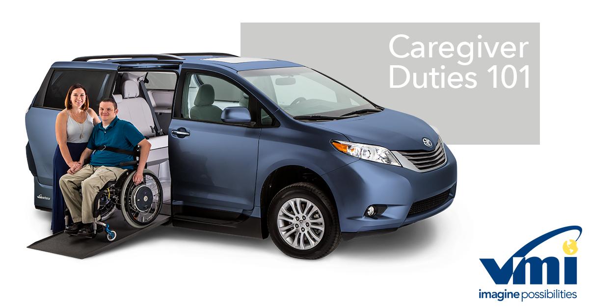 A caregiver helps a wheelchair user exit a wheelchair van