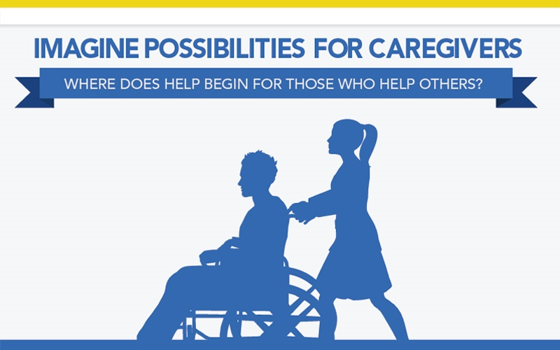 Caregiver pushes loved one in wheelchair