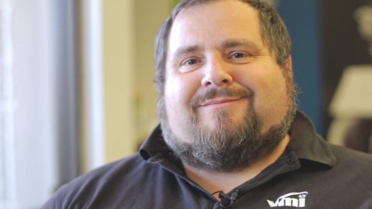 VMI employee. Tiger Desmarais discusses his caregiver.